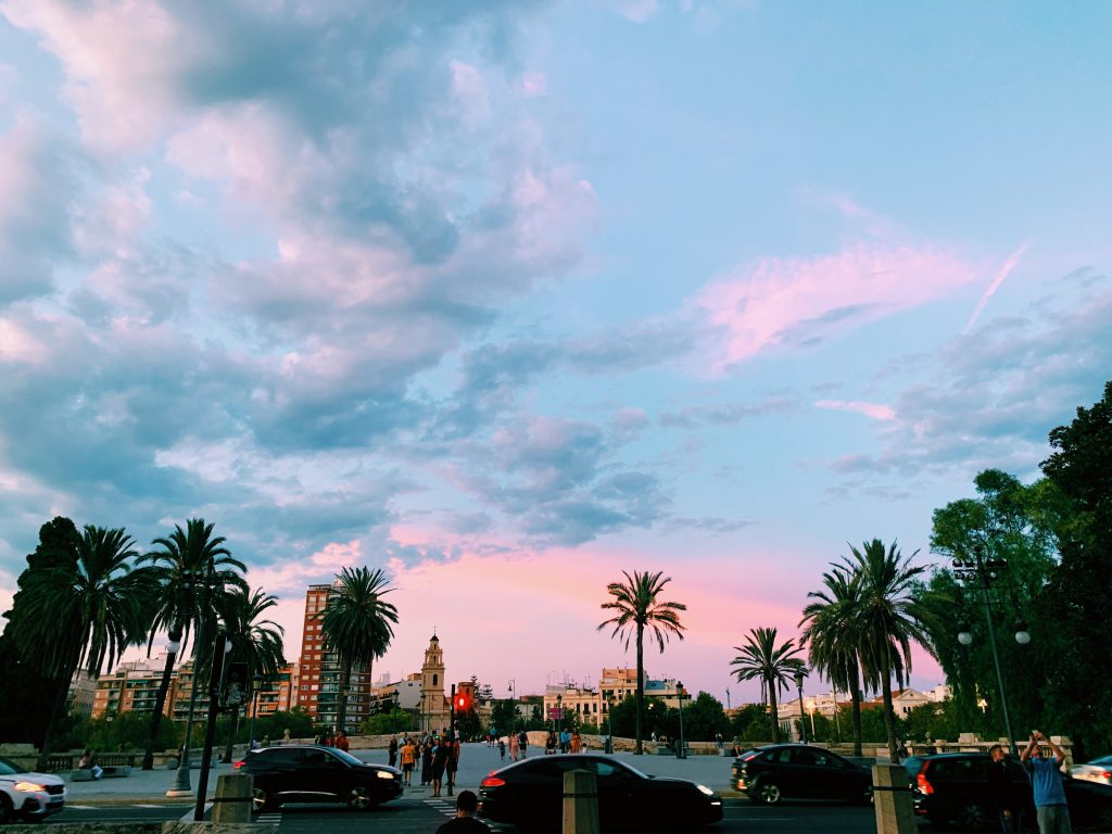 A sunset scene in Valencia.